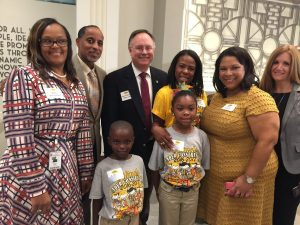 Bush Elementary students and staff (Alief ISD) with Council Member Mike Laster.